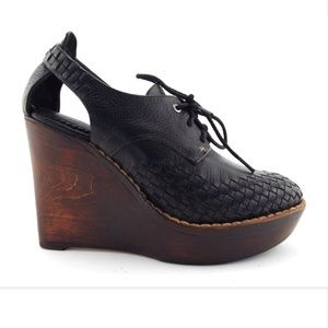 Rag&Bone Black Woven Platform Oxford Wedge Pump 37